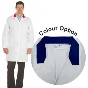 White Men's (Unisex) Lab Coat with Coloured Collar (Navy)
