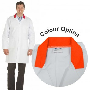 White Men's (Unisex) Lab Coat with Coloured Collar (Orange)