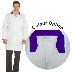 White Men's (Unisex) Lab Coat with Coloured Collar (Purple)