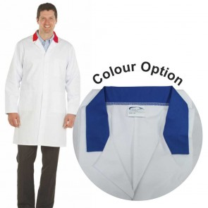White Men's (Unisex) Lab Coat with Coloured Collar (Royal Blue)