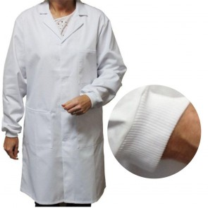 White Men's (Unisex) Lab Coat with Knitted Cuffs