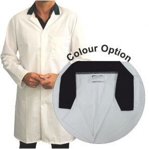 White Men's (Unisex) Food Trade Coat with Coloured Collar (Black)