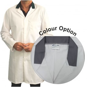 White Men's (Unisex) Food Trade Coat with Coloured Collar (Grey)