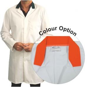 White Men's (Unisex) Food Trade Coat with Coloured Collar (Orange)