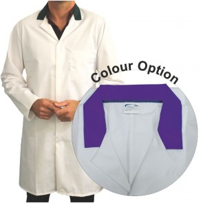 White Men's (Unisex) Food Trade Coat with Coloured Collar (Purple)