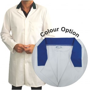 White Men's (Unisex) Food Trade Coat with Coloured Collar (Royal Blue)